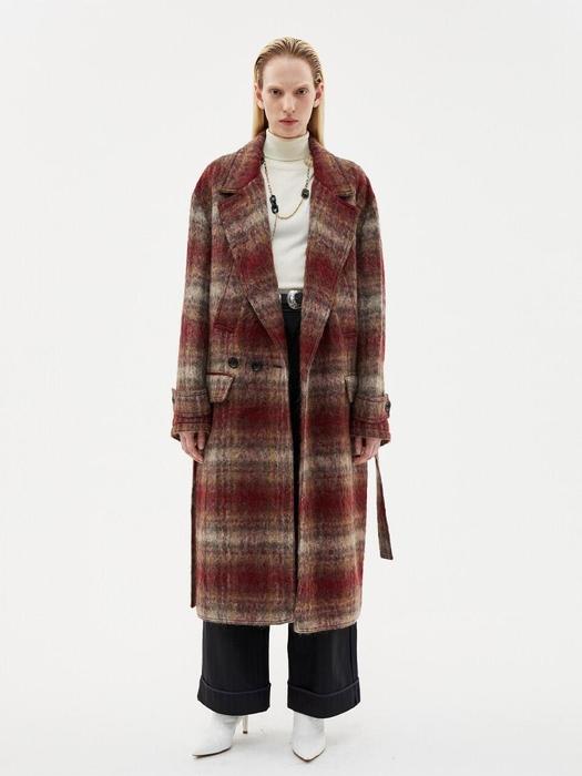 Mattia Military Robe Coat Awa193u Red Check W Concept
