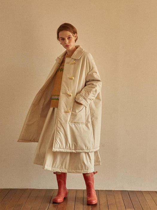 Lave De Duffle Coat Ivory Quilting