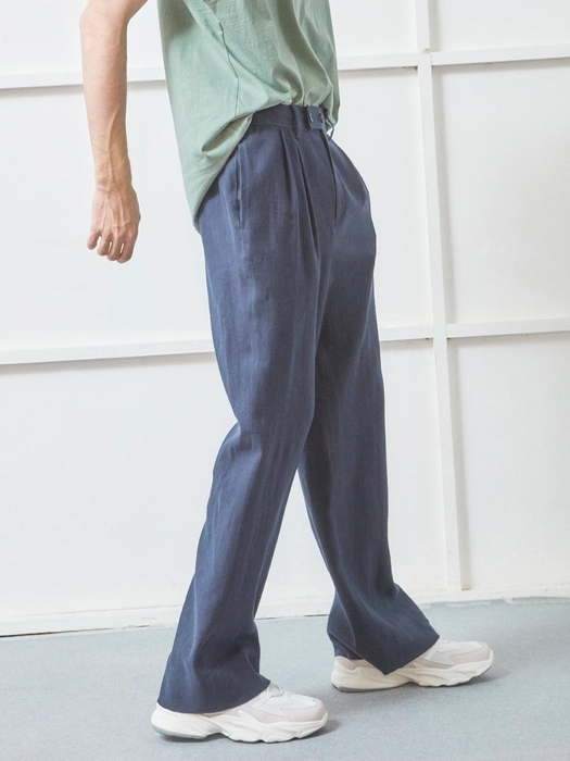 Nohant Linen Double Button Wide Pants Navy
