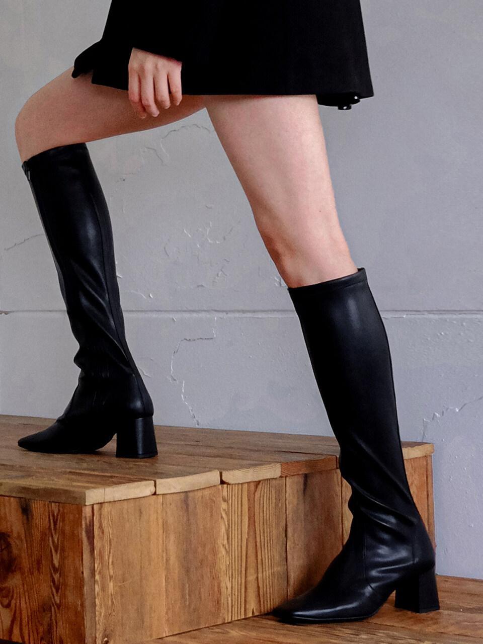 Span Knee High Socks Boots Black | W