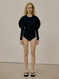 Slim Button Body Suit (Black) | W Concept